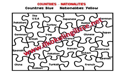 Ülkeler Puzzle Worksheet Boyama