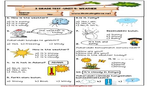 3.Sınıf 9.Ünite Test
