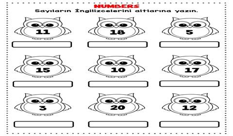 Number 1-20 Worksheets
