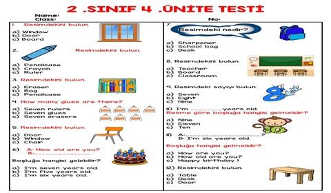 2.Sınıf 4.Ünite Testi (25 Soruluk)